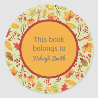 Colorful Yellow Orange Fall Leaves Book Name Plate Classic Round Sticker