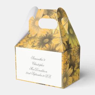 Colorful yellow orange flowers wedding wedding favor box