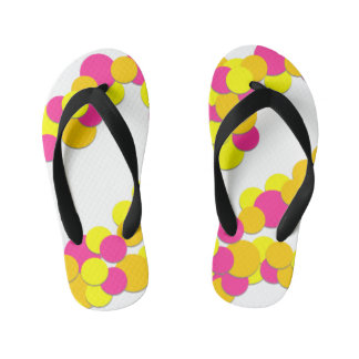 Colorful Yellow Pink Dots - Kids Flip Flops