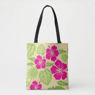 Colorful Yellow Pink Green Tropical Floral Tote