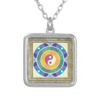 Colorful Yin Yang Pattern Silver Plated Necklace