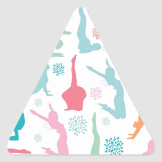 Colorful yoga poses pattern triangle sticker