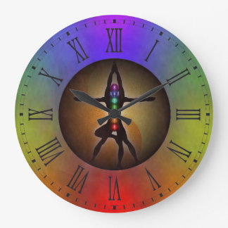 Colorful Yoga Seven Chakras Yin Yang Balance Large Clock