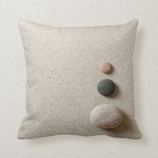 Colorful Zen Stones On Sand Background Throw Pillow