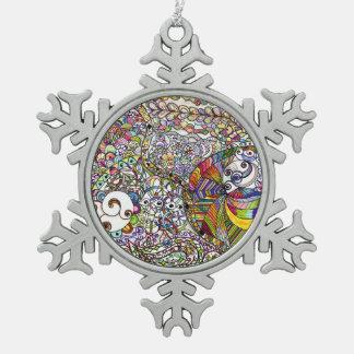 Colorful Zentangle Snowflake Christmas Ornament