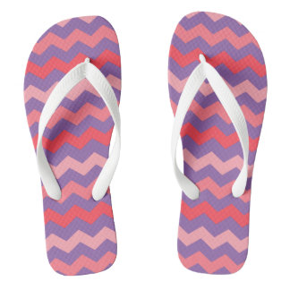 Colorful Zig Zag Chevron Pattern Lilac Rose Flip Flops