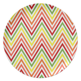 Colorful Zigzag Chevron Pattern Party Plate