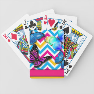 Colorful Zigzag With Butterflies Bicycle Playing Cards