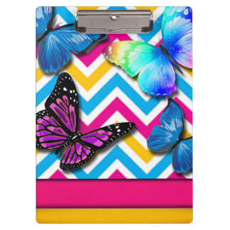 Colorful Zigzag With Butterflies Clipboard