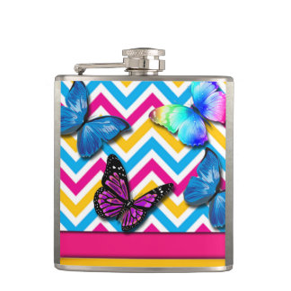 Colorful Zigzag With Butterflies Hip Flask