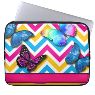 Colorful Zigzag With Butterflies Laptop Sleeve