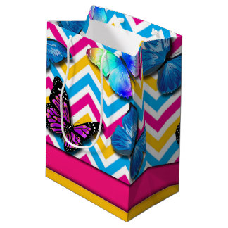 Colorful Zigzag With Butterflies Medium Gift Bag