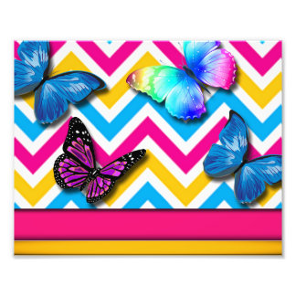Colorful Zigzag With Butterflies Photo Print