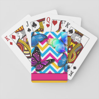 Colorful Zigzag With Butterflies Playing Cards
