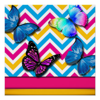 Colorful Zigzag With Butterflies Poster