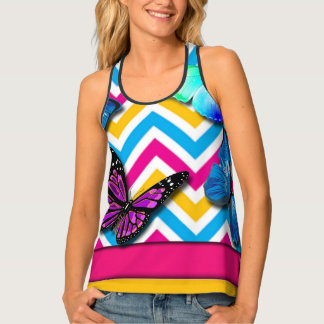 Colorful Zigzag With Butterflies Tank Top