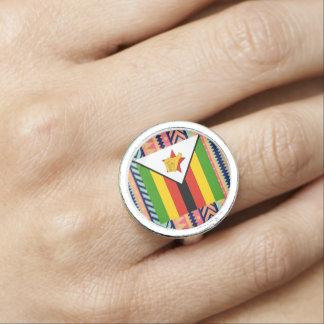Colorful Zimbabwe Flag Box Photo Ring
