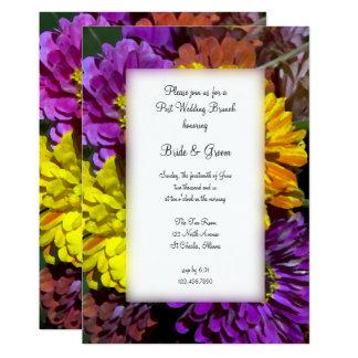 Colorful Zinnia Flowers Post Wedding Brunch Invite