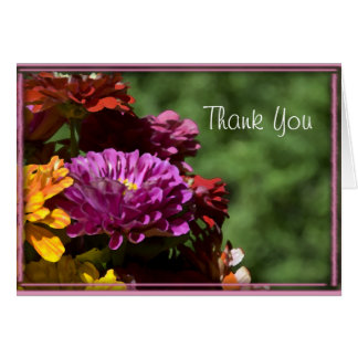 Colorful Zinnia Flowers Wedding Thank You Card