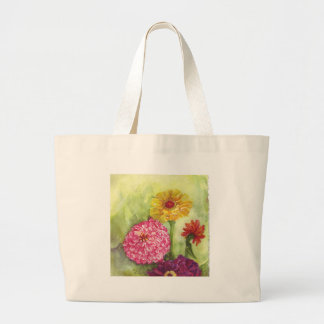 Colorful Zinnia Painting Large Tote Bag