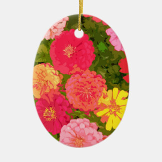 Colorful Zinnias 70s Retro Ornament