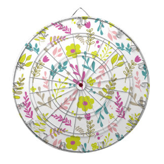 Colorfull flowers on white dartboard