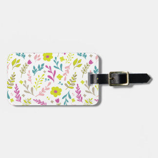 Colorfull flowers on white luggage tag