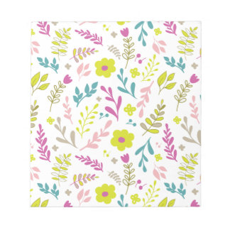 Colorfull flowers on white notepad