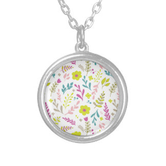 Colorfull flowers on white silver plated necklace