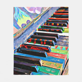 Colorfull Painted Piano Keys Fleece Blanket