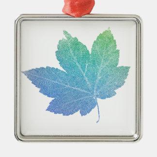 colorfull skeleton Leaf blue Silver-Colored Square Ornament