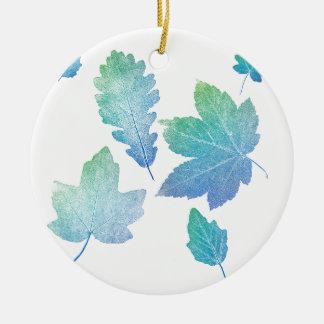 colorfull skeleton Leafs blue Round Ceramic Ornament