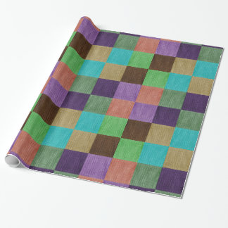 Colorfully Textured Textile Squares Gift Wrap
