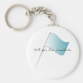 "Colorguard ""Will spin for chocolate"" Basic Round Button Keychain"