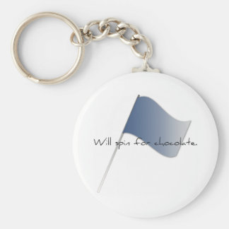 """Colorguard """"Will spin for chocolate."""" Keychain"""