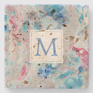 Colorized Marble Texture Monogram Stone Coaster