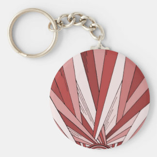 Colorized Red Sunrise Basic Round Button Keychain