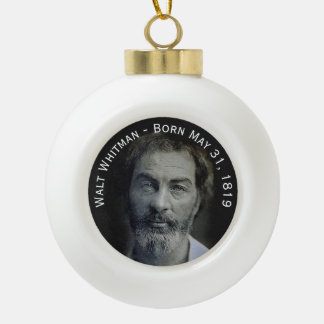 Colorized Walt Whitman Portrait Ceramic Ball Christmas Ornament