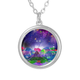Colors and stars light up the night silver plated necklace