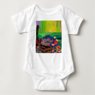 Colors invade the sky, the lilies cover the pond. baby bodysuit