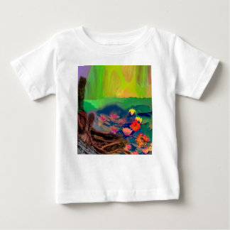 Colors invade the sky, the lilies cover the pond. baby T-Shirt