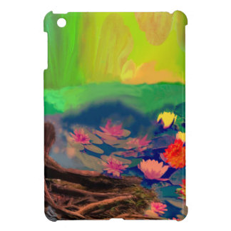Colors invade the sky, the lilies cover the pond. iPad mini case