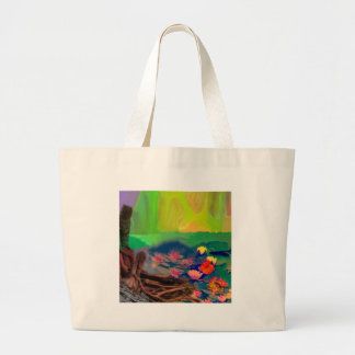 Colors invade the sky, the lilies cover the pond. large tote bag