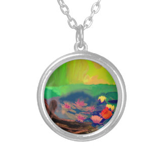 Colors invade the sky, the lilies cover the pond. silver plated necklace