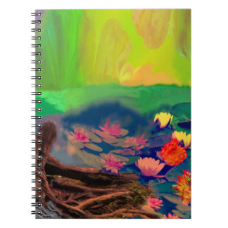 Colors invade the sky, the lilies cover the pond. spiral notebook