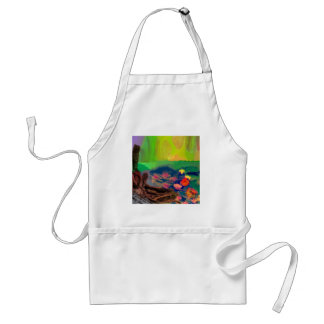 Colors invade the sky, the lilies cover the pond. standard apron