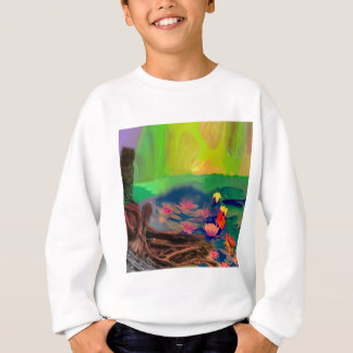 Colors invade the sky, the lilies cover the pond. sweatshirt
