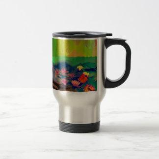 Colors invade the sky, the lilies cover the pond. travel mug