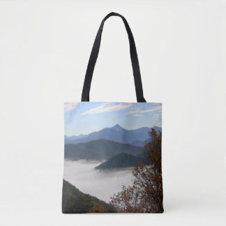 Colors of Fall with morning fog.... Tote Bag