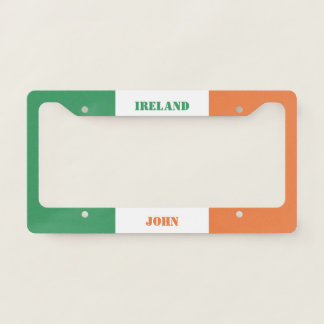 Colors of Ireland Flag. Add Your Name. License Plate Frame